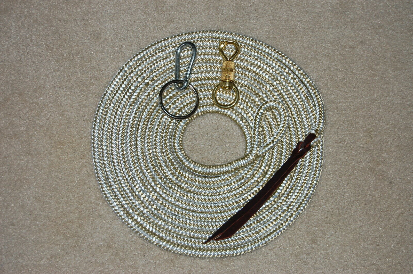 22' LONGE LINE LEAD  ROPE WITH BRASS SNAP & RING CARABINER FOR PARELLI TRAINING  free shipping & exchanges.
