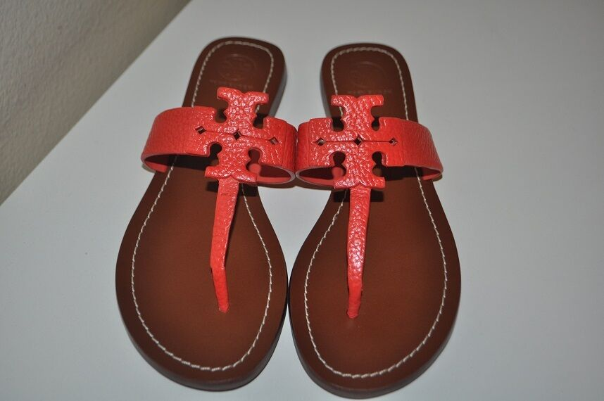 NEW Tory Burch MOORE Poppy Coral Tumbled Leather Thong Sandal Logo chaussures Sz 7
