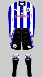 Para hombres camisa  y pantalón corto de fútbol Kit-Sheffield Wednesday-Raro Retro-Home 1997  bajo precio del 40%