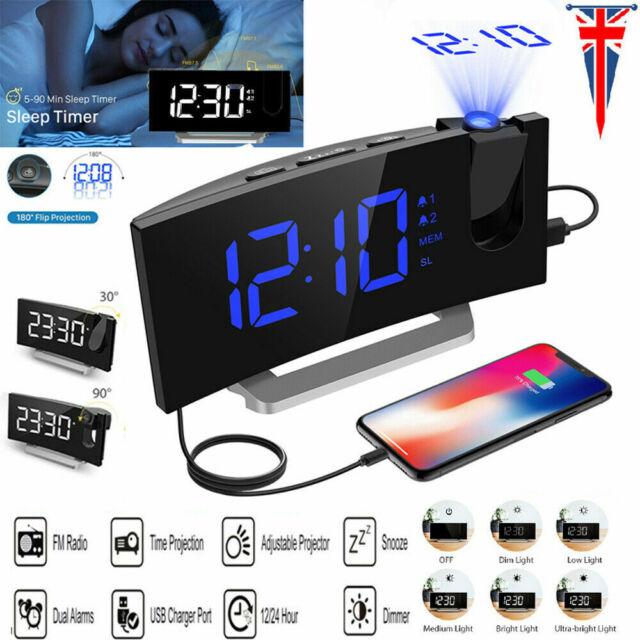 Mpow Digital LED Alarm Clock SNOOZE Timer Projection FM Radio USB Dual Alarm UK