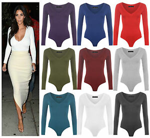 Womens-Long-Sleeve-Plunge-V-Neck-Bodysuit-Ladies-Stretchy-Plain-Leotard-Top