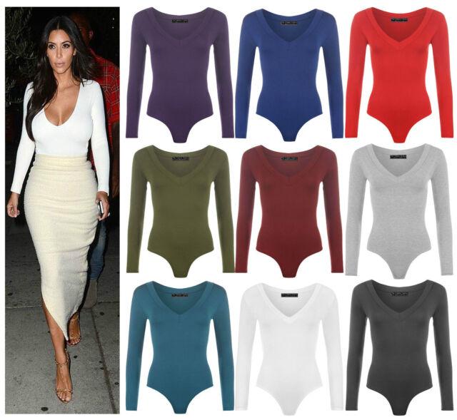 Womens Tie Leotard Front Plunge Lace up Bodysuit Stretch Crop Top Tee T-Shirt UK