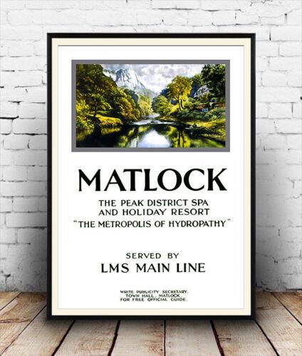 Wall art. Matlock Reproduction poster Vintage Railway Travel advertising