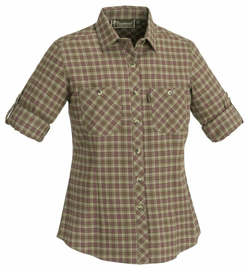 PINEWOOD LADIES FELICIA SHORT SLEEVED SHIRT - GREEN PINK (Hunting)