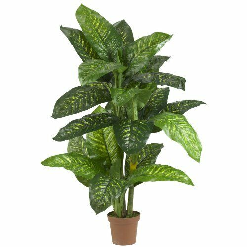 Nearly Natural 6573 Dieffenbachia Silk Plant Real Touch- 5-Feet- Green NEW