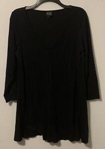 Eileen Fisher Black V Neck blouse Top Shirt Tencel Cashmere A-line SZ Medium