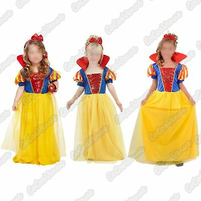 NUOVO Ragazze Biancaneve Principessa Costume Bambini MONDO prenotare Abito Outfit