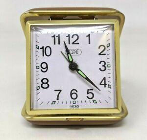 VTG-Tozaj-Folding-Travel-Wind-Up-Alarm-Clock-Brown-Leather-Case-Japan-Works-TT20