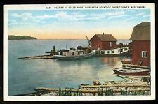 Vintage 1924 Gills Rock Marine Boats Scene North Door County Wisconsin Postcard
