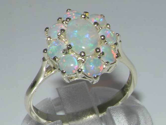 10ct White gold Natural Opal Womens Cluster Ring - Sizes J to Z
