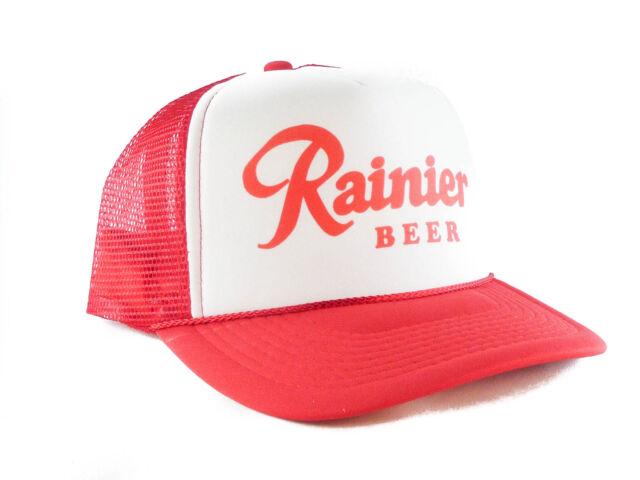 Rainier Beer hat Script Trucker Hat mesh hat snapback hat red new adjustable 2985e515af3