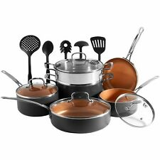 VonShef 11 Piece Copper Cookware Set Pans Kitchen Utensils Bundle Gadgets