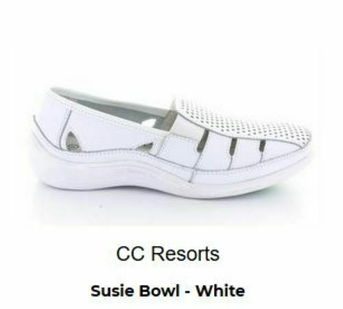 CC Resort Ladies Susie Lawn Bowls shoes white size 36 ( 5 ) to 42 ( 11 )