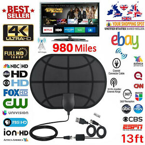 Indoor-Digital-TV-Antenna-Aerial-Signal-Amplified-Thin-HDTV-HD-Freeview-980-Mile