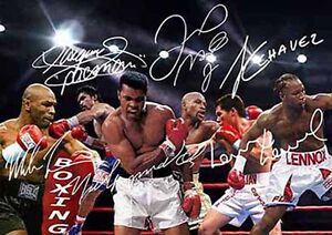 Muhammad-Ali-Mike-Tyson-Pacquaio-Mayweather-Boxing-Autograph-Signed-A4-Poster