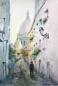 Paris Autumn 35x24 Watercolor painting Aquarell Gemälde impressionism cityscape
