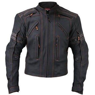 Mens Black Vulcan vtz 910 Street Racer Premium Leather Motorcycle Jacket