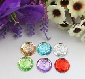 30pcs-mixed-colors-flower-acrylic-rhinestone-round-cabochon-20mm-22195