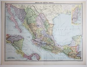1920 LARGE MAP MEXICO & CENTRAL AMERICA COSTA RICA PANAMA NIGARAGUA GUAEMALA
