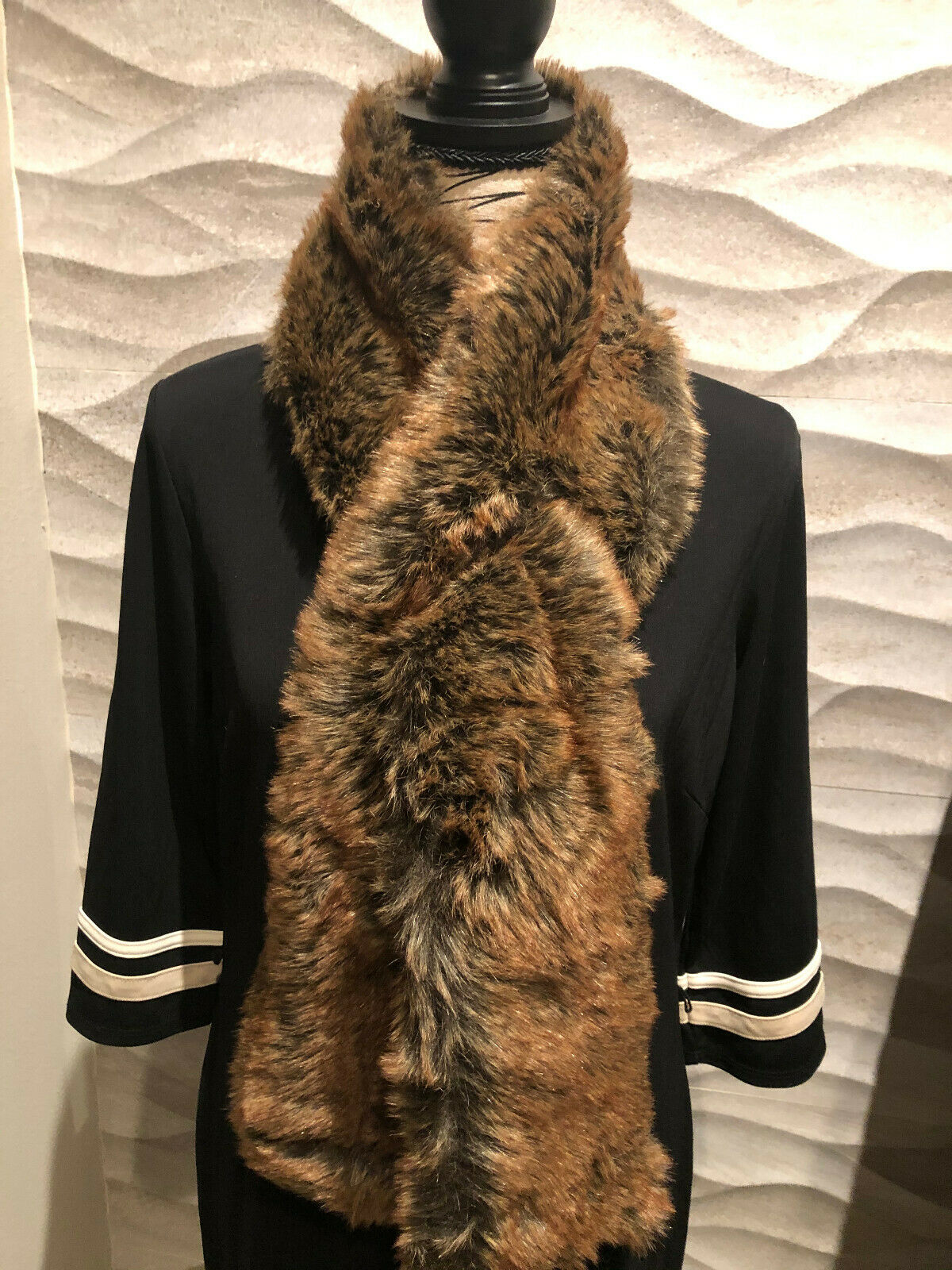 RESTORATION HARDWARE Luxe Faux Fur Neck Wrap & Tuck SCARF - Coyote -