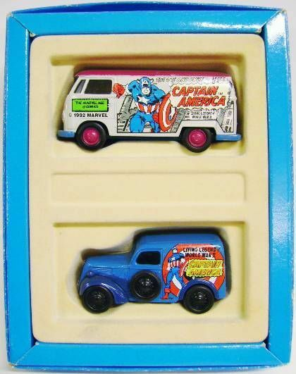 RARE CORGI VW T1 VAN CAPTAIN AMERICA AMERICA AMERICA 2-MODEL CAR SET 1 43 NEW IN GIFT BOX 3fca81