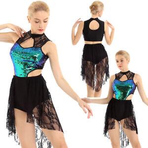 Adult-Women-039-s-Shiny-Sequins-Lace-Ballet-Dance-Dress-Lyrical-Contemporary-Costume