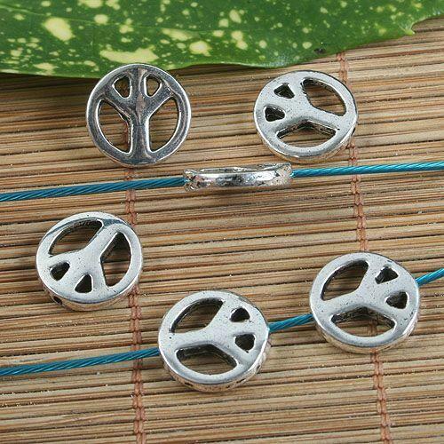 10pcs Argent Ancien Paix Signe Spacer Beads G1297