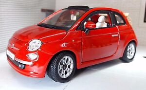 Details About Lgb G Scale 1 24 Red Fiat 500 500c Cabriolet Cabrio Burago Diecast Model Car