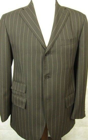 NEW Ralph Lauren Polo Made in  Braun Stripe 3Button Suit 38R 32W Flat Front