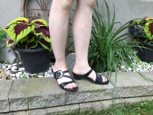 MEPHISTO-AIR-RELAX-Leather-SANDALS-SZ37-Buckle-Straps-GENTLY-WORN-Black-NICE