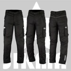 Para-Hombre-Moto-Pantalones-Blindado-Impermeable-De-Motocicleta-Pantalones-Largos-Negro-Inferior