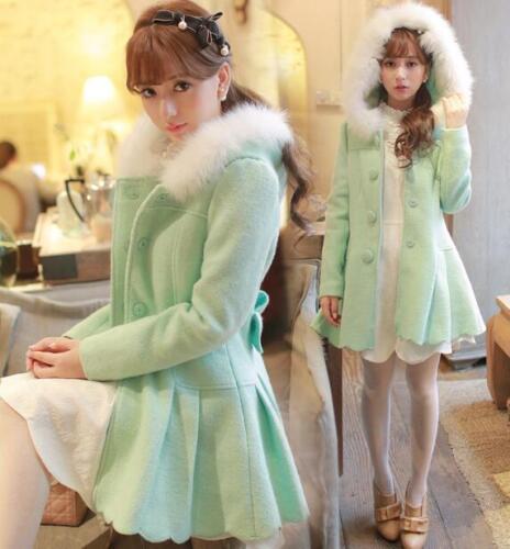 Felpa cappuccio Outwear slim da sintetica da G214 pelliccia con in donna fit morbida principessa Lolita giacca raBrq