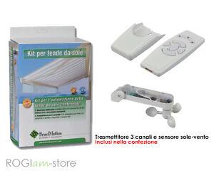 Sensore Vento Per Tende Da Sole.Dettagli Su Kit Automazione Per Tenda Tende Da Sole Sensore Vento Con Centralina Incorporata