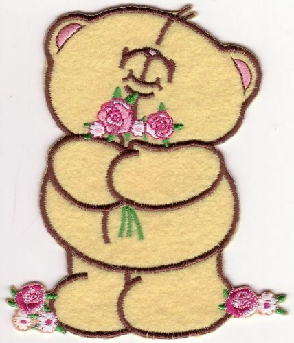 Cartoon Bear Hugging Flowers Embroidery Patch