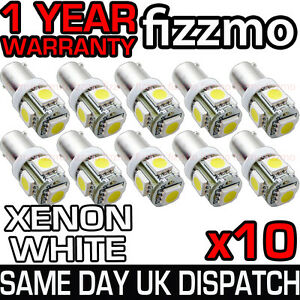 10x-233-BA9S-T4W-CAPPED-5-SMD-LED-360-HID-XENON-WHITE-SIDE-LIGHT-BULBS