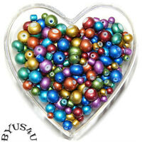 MIXED SHAPE GLASS BEADS 4-8mm MIXED COLORS IRIDESCENT 100pc