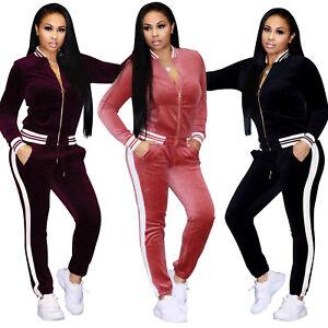 Women Velvet 2Pcs Tracksuit Hoodies Sweatshirt Pants Sets Sport Wear Casual Suit