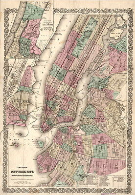 Brooklyn Jersey City Map 1879 Art Print with Framing Vintage New York City