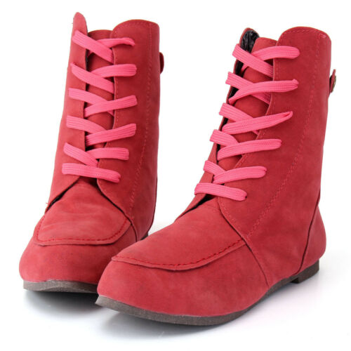 Womens Lady Leather   Snow Ankle Boots Winter Lace Up High Top Flat Shoes