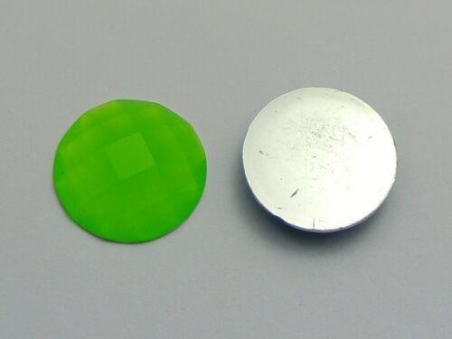 50 Mixed Neon Color Flatback Acrylique Rond Strass Gems 20 mm sans trou