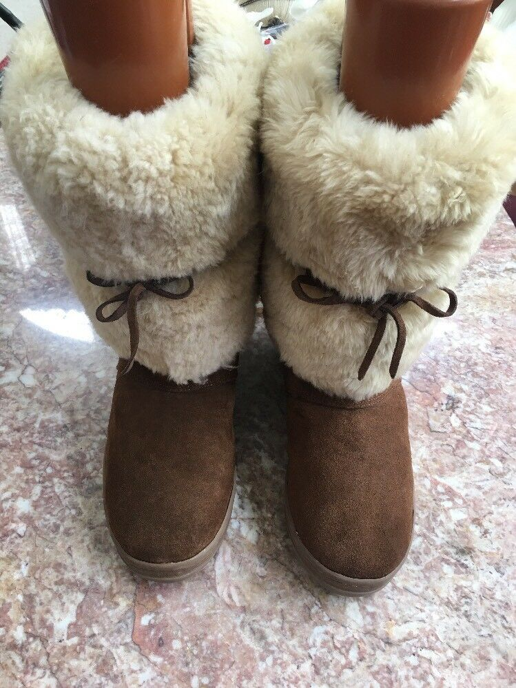J CREW Women's Brown Fur Casual Slip On Mid Calf Round Toe Boots Size 9M   99714