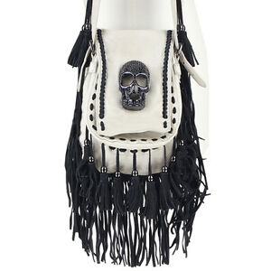 Thomas-Wylde-Cream-Leather-Black-Crystal-Skull-Tasseled-Shoulder-Bag-Handbag