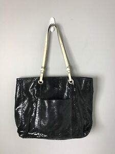 WILSONS-Leather-Large-Black-Reptile-Pattern-Shoulder-Tote-Shopper-Bag-Purse-EUC