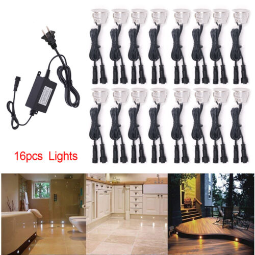 Set of 16 LED Stairs Deck Light Garden Landscape Pathway Lamp Transformer Plug