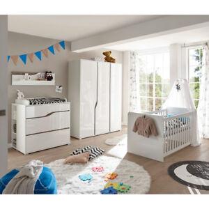 Babyzimmer 1 Marra Komplett Set 3 Tlg Mdf Weiss Hochglanz Eiche