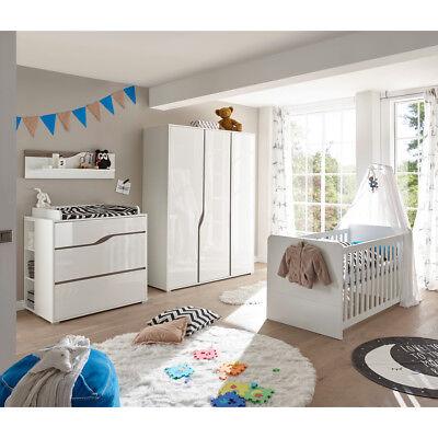 Babyzimmer 1 Marra Komplett Set 3-tlg MDF weiß Hochglanz Eiche Sonoma  Trüffel | eBay