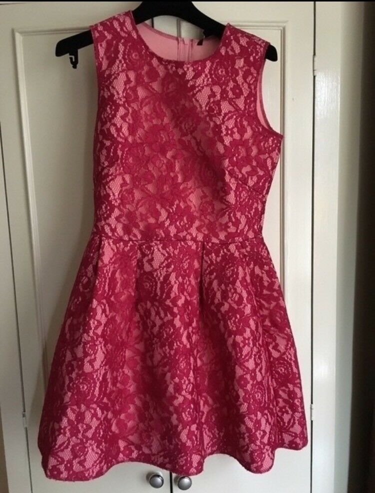 H&M Pink Lace Dress Size 14 UK exclusive