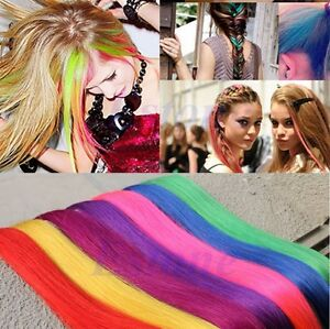 Lady-femme-Multi-Color-long-clip-synthetique-droites-en-le-Hair-Extensions-Piece