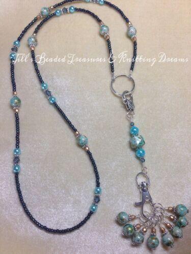 SNAG FREE Handmade Knitting Blue Stitch Marker Necklace Set