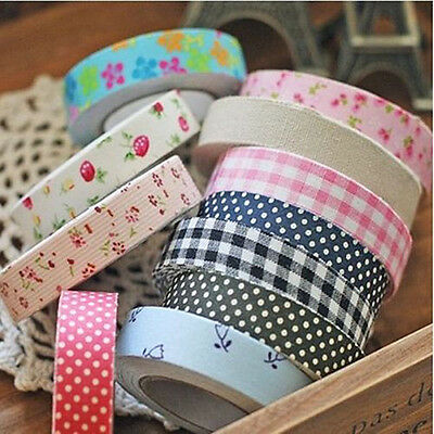 1~10Pcs Flower Washi Tape Decorative Sticky Paper Fabric DIY Tape Sticky